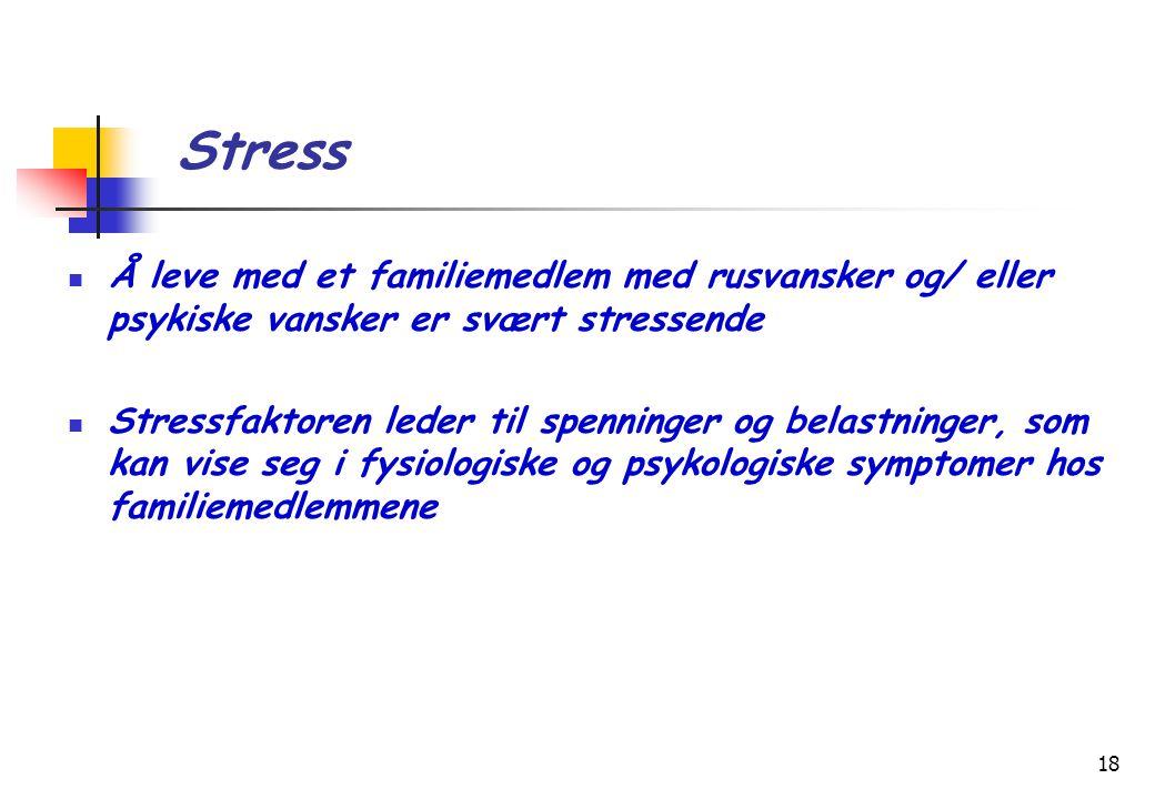 Stress Å leve med et familiemedlem med rusvansker og/ eller psykiske vansker er svært stressende.