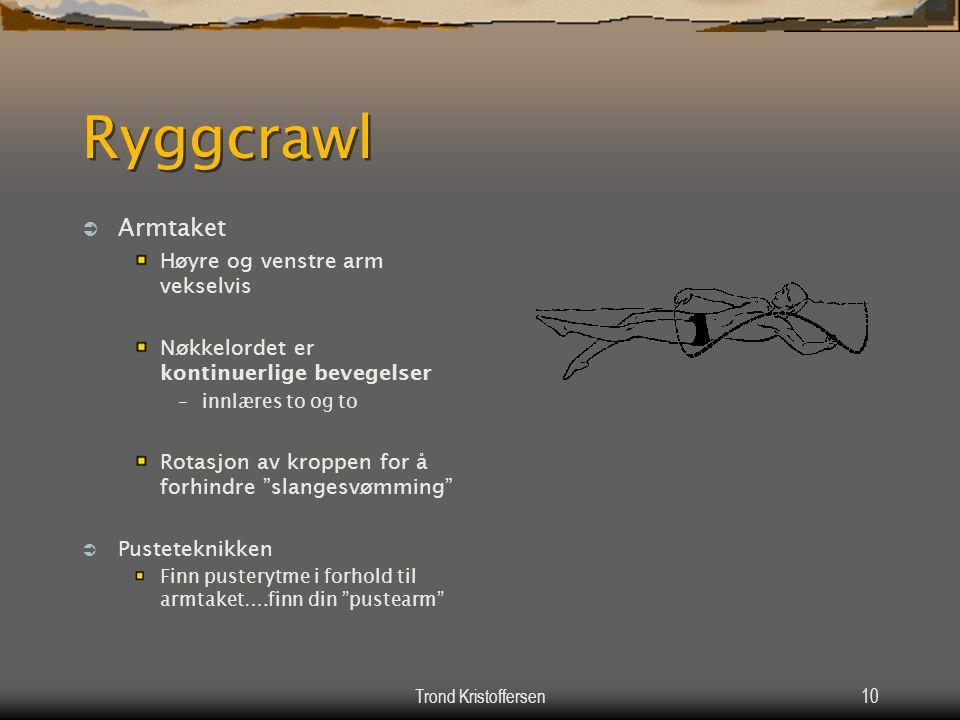 Ryggcrawl Armtaket Høyre og venstre arm vekselvis