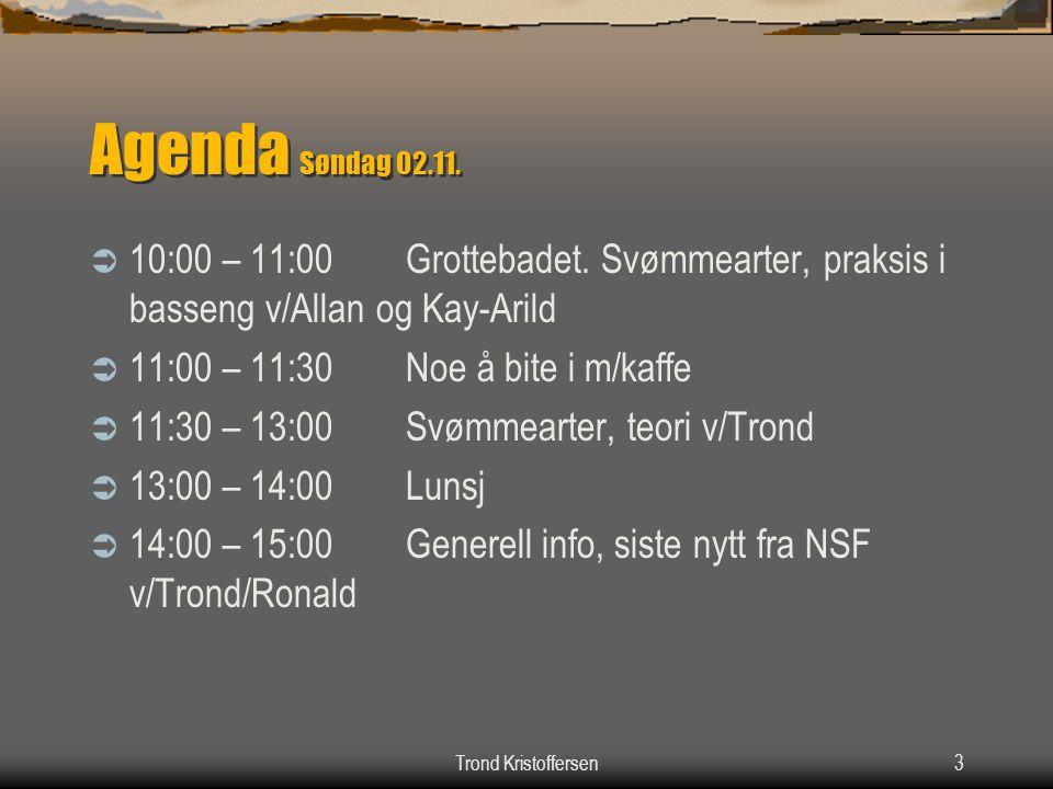 Agenda Søndag 02.11. 10:00 – 11:00 Grottebadet. Svømmearter, praksis i basseng v/Allan og Kay-Arild.