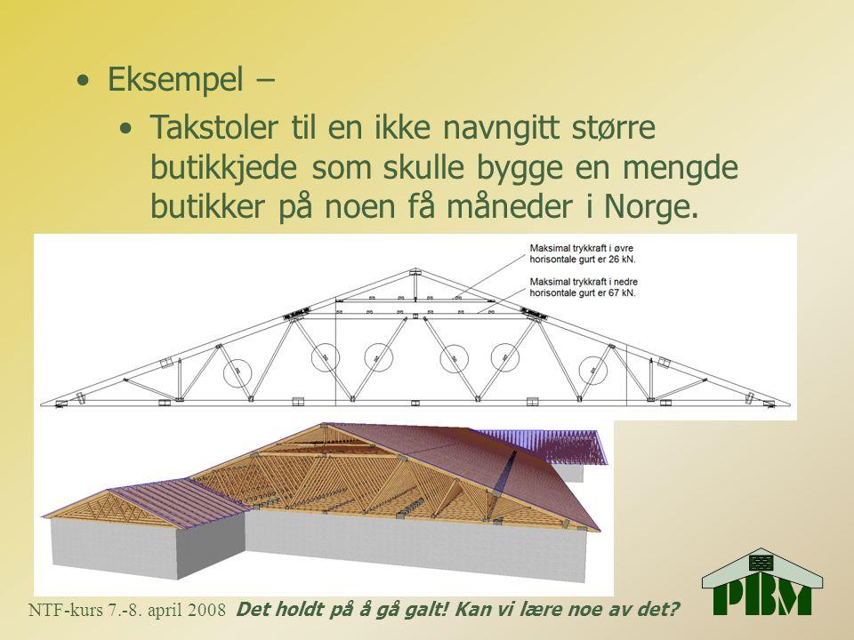 Eksempel – Takstoler til en ikke navngitt større butikkjede som skulle bygge en mengde butikker på noen få måneder i Norge.