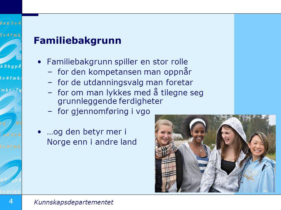Familiebakgrunn Familiebakgrunn spiller en stor rolle