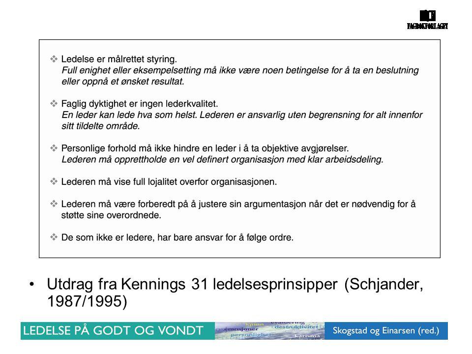 Utdrag fra Kennings 31 ledelsesprinsipper (Schjander, 1987/1995)