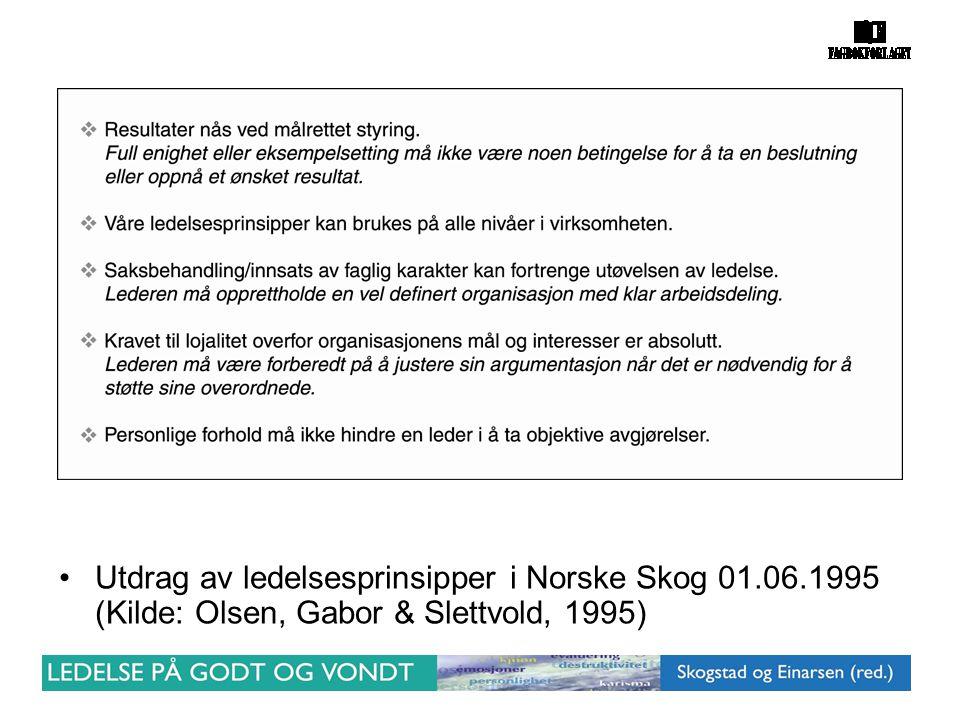 Utdrag av ledelsesprinsipper i Norske Skog 01. 06