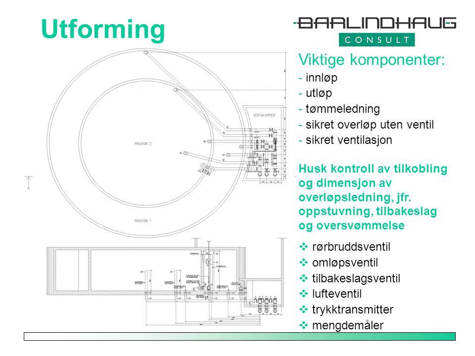 Utforming Viktige komponenter: innløp utløp tømmeledning