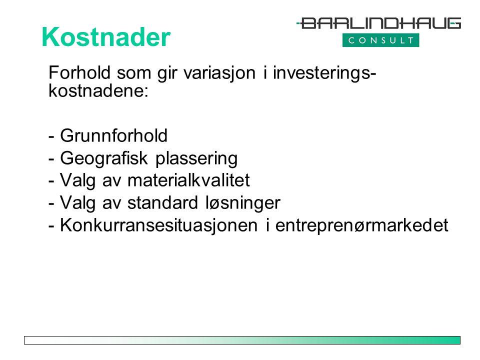 Kostnader Forhold som gir variasjon i investerings-kostnadene: