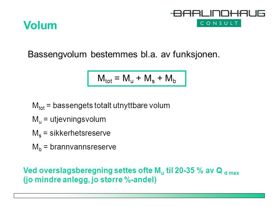 Volum Bassengvolum bestemmes bl.a. av funksjonen. Mtot = Mu + Ms + Mb