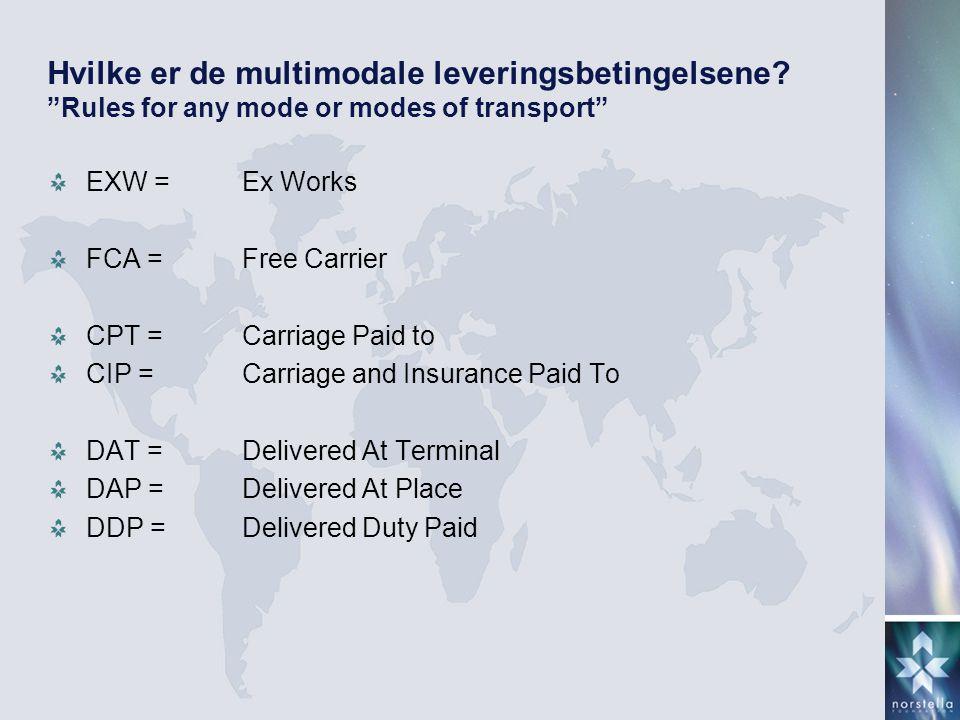 Hvilke er de multimodale leveringsbetingelsene