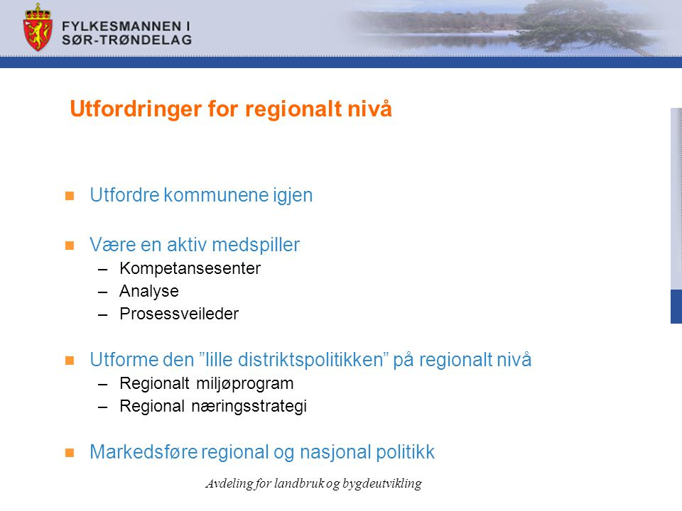 Utfordringer for regionalt nivå