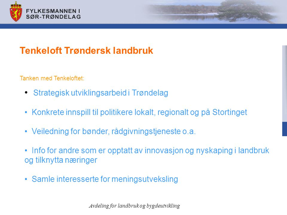 Tenkeloft Trøndersk landbruk