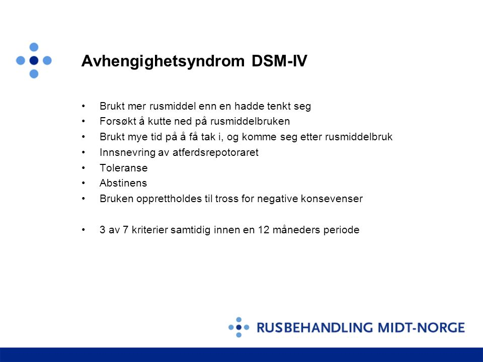 Avhengighetsyndrom DSM-IV