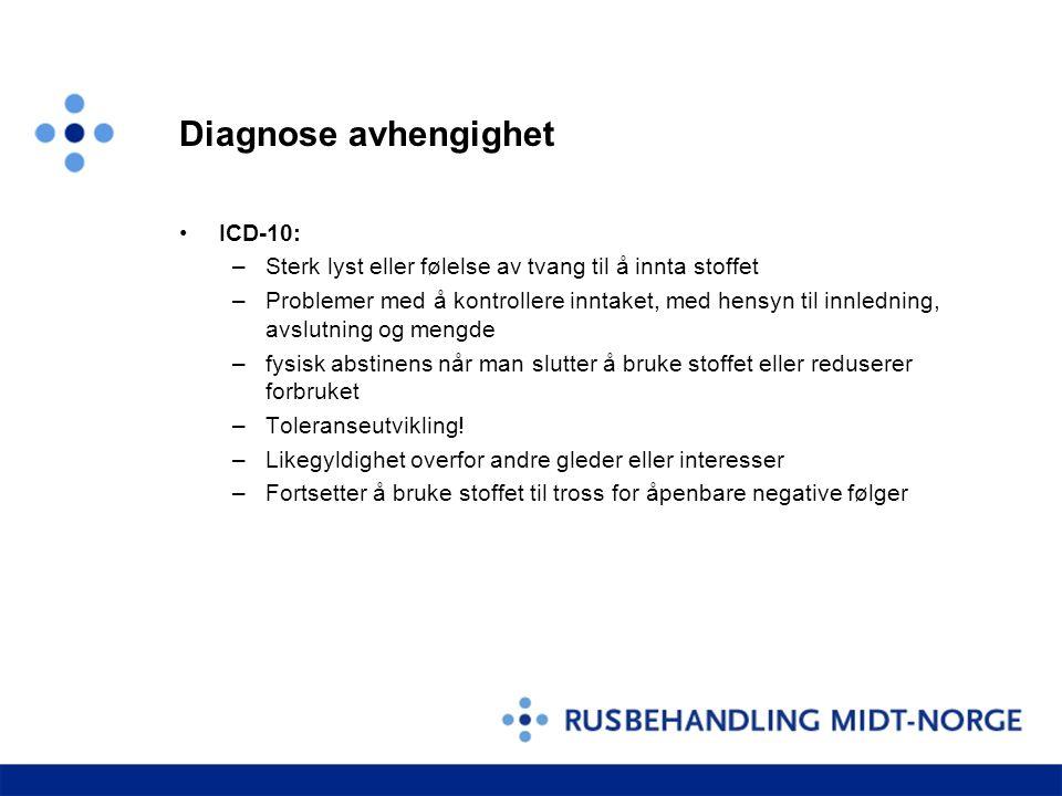 Diagnose avhengighet ICD-10: