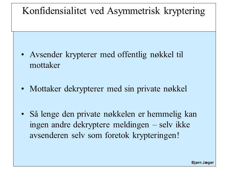 Konfidensialitet ved Asymmetrisk kryptering
