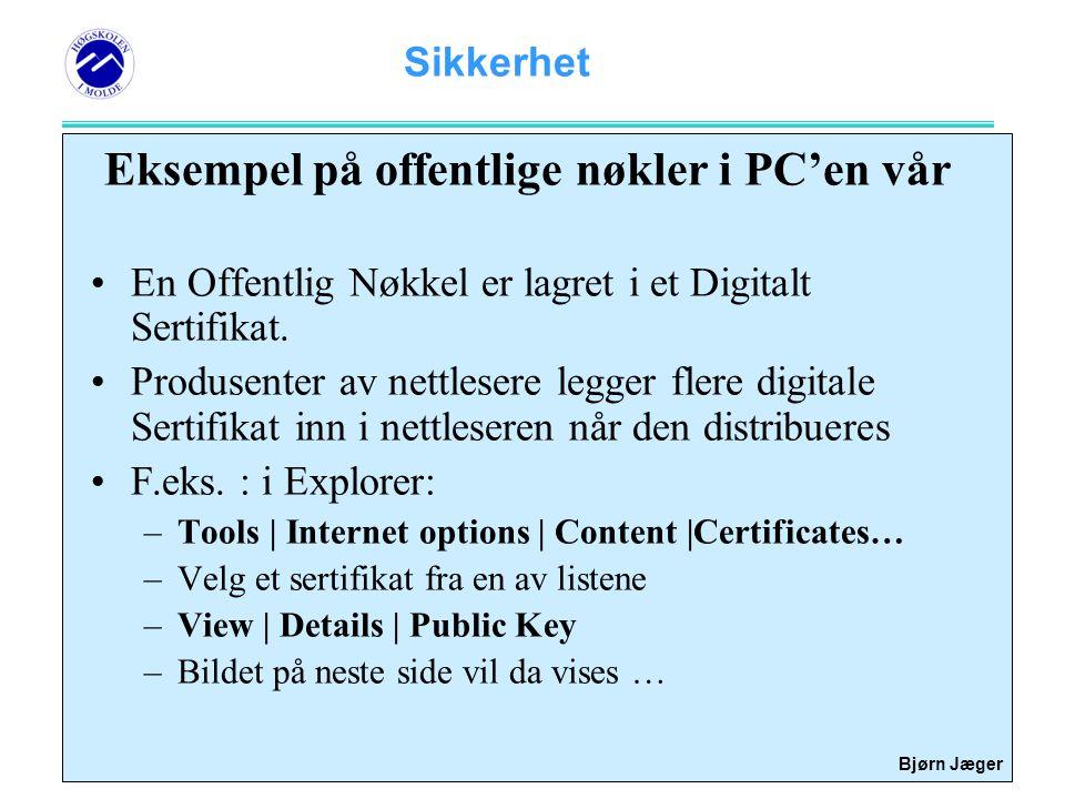 Eksempel på offentlige nøkler i PC'en vår
