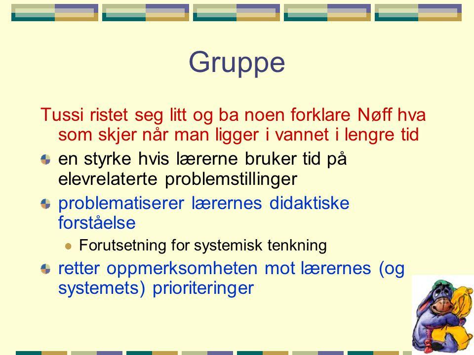 Gruppe Tussi ristet seg litt og ba noen forklare Nøff hva som skjer når man ligger i vannet i lengre tid.