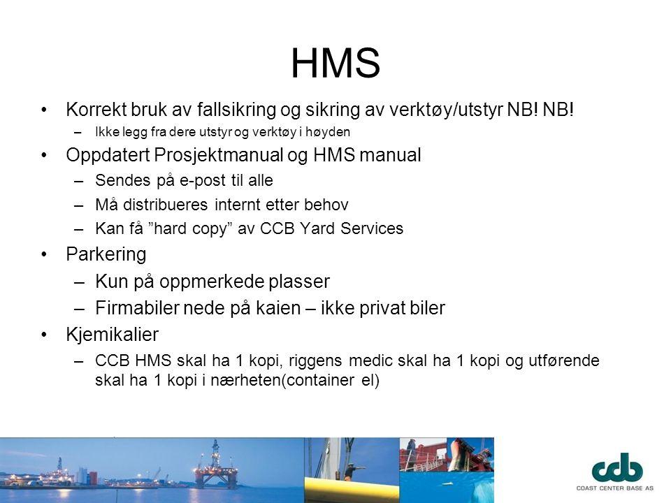 HMS Korrekt bruk av fallsikring og sikring av verktøy/utstyr NB! NB!