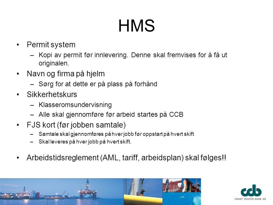 HMS Permit system Navn og firma på hjelm Sikkerhetskurs