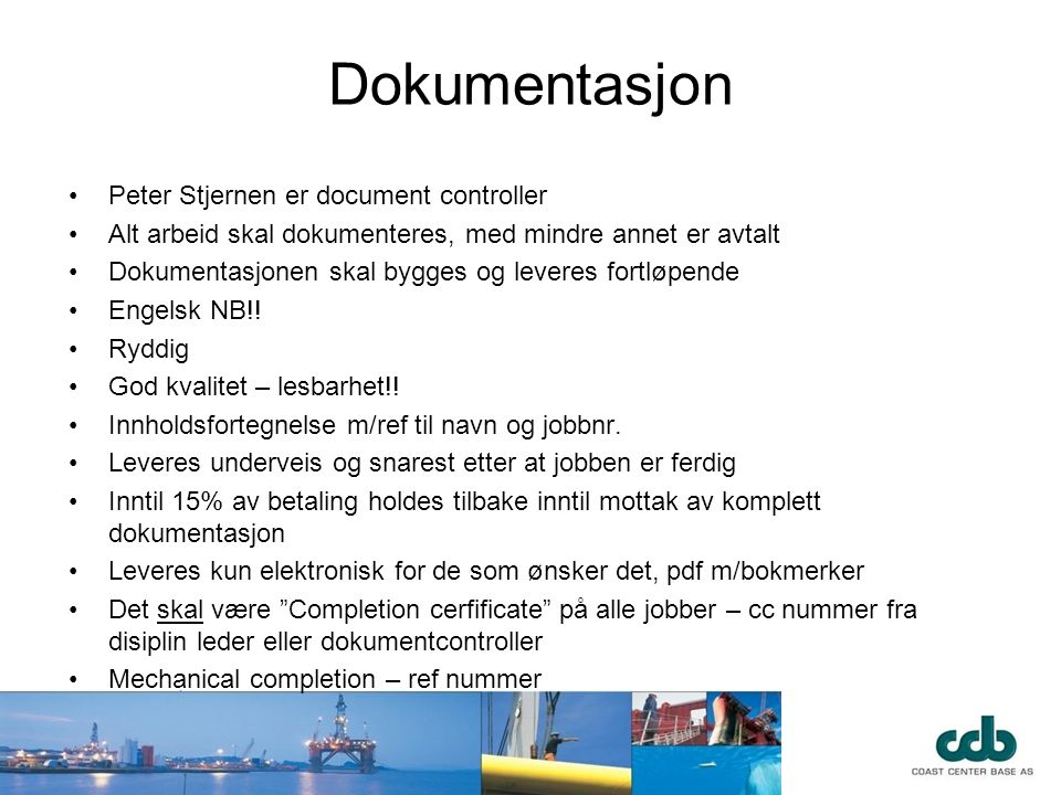 Dokumentasjon Peter Stjernen er document controller