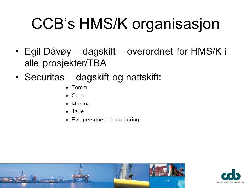CCB's HMS/K organisasjon