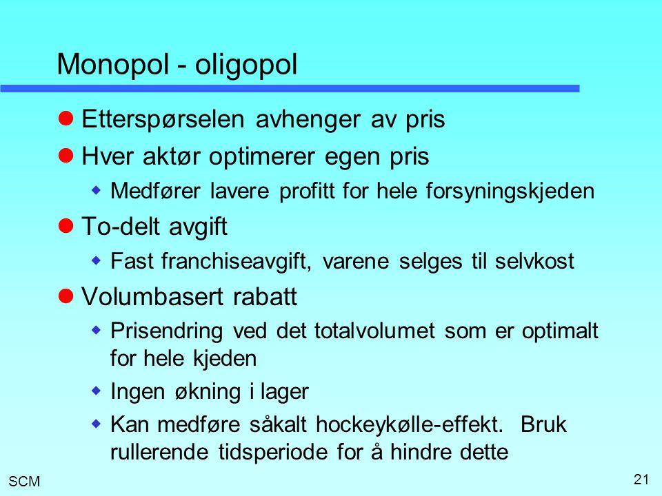 Monopol - oligopol Etterspørselen avhenger av pris
