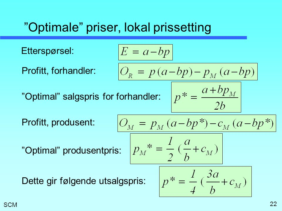 Optimale priser, lokal prissetting