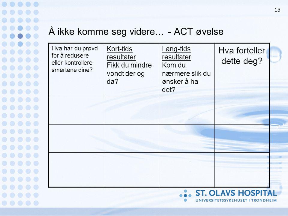 Å ikke komme seg videre… - ACT øvelse