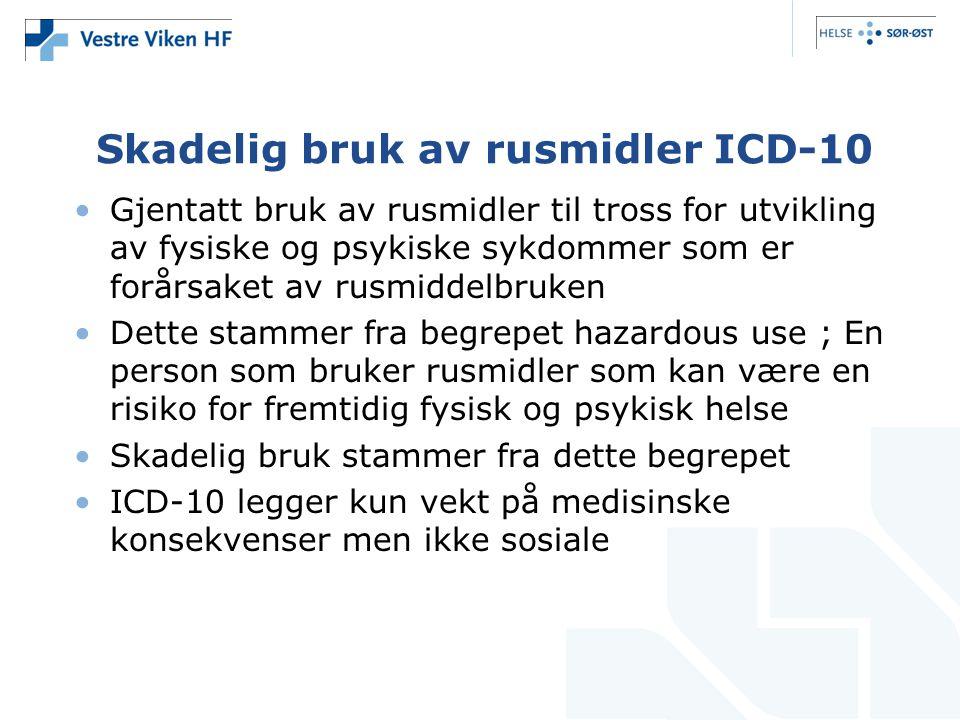 Skadelig bruk av rusmidler ICD-10