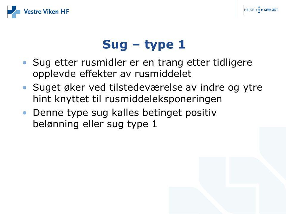 Sug – type 1 Sug etter rusmidler er en trang etter tidligere opplevde effekter av rusmiddelet.