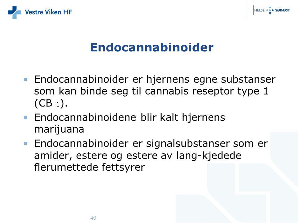 Endocannabinoider Endocannabinoider er hjernens egne substanser som kan binde seg til cannabis reseptor type 1 (CB 1).