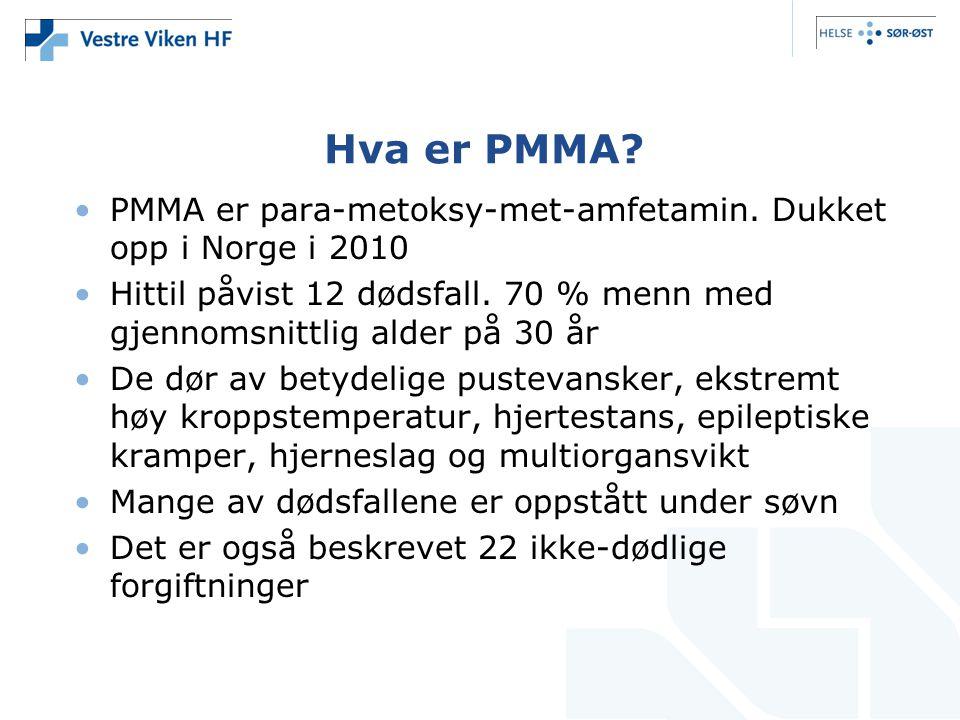 Hva er PMMA PMMA er para-metoksy-met-amfetamin. Dukket opp i Norge i 2010. Hittil påvist 12 dødsfall. 70 % menn med gjennomsnittlig alder på 30 år.