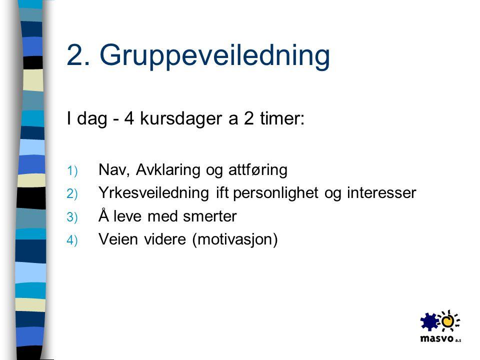 2. Gruppeveiledning I dag - 4 kursdager a 2 timer: