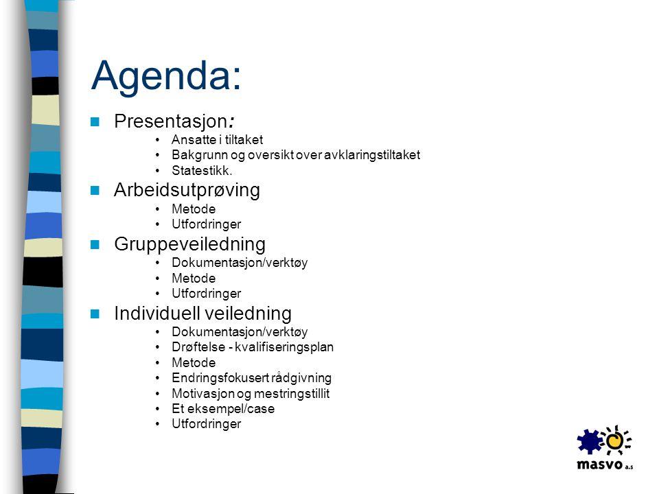 Agenda: Presentasjon: Arbeidsutprøving Gruppeveiledning