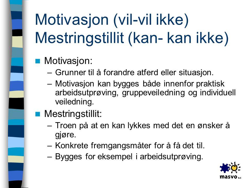Motivasjon (vil-vil ikke) Mestringstillit (kan- kan ikke)