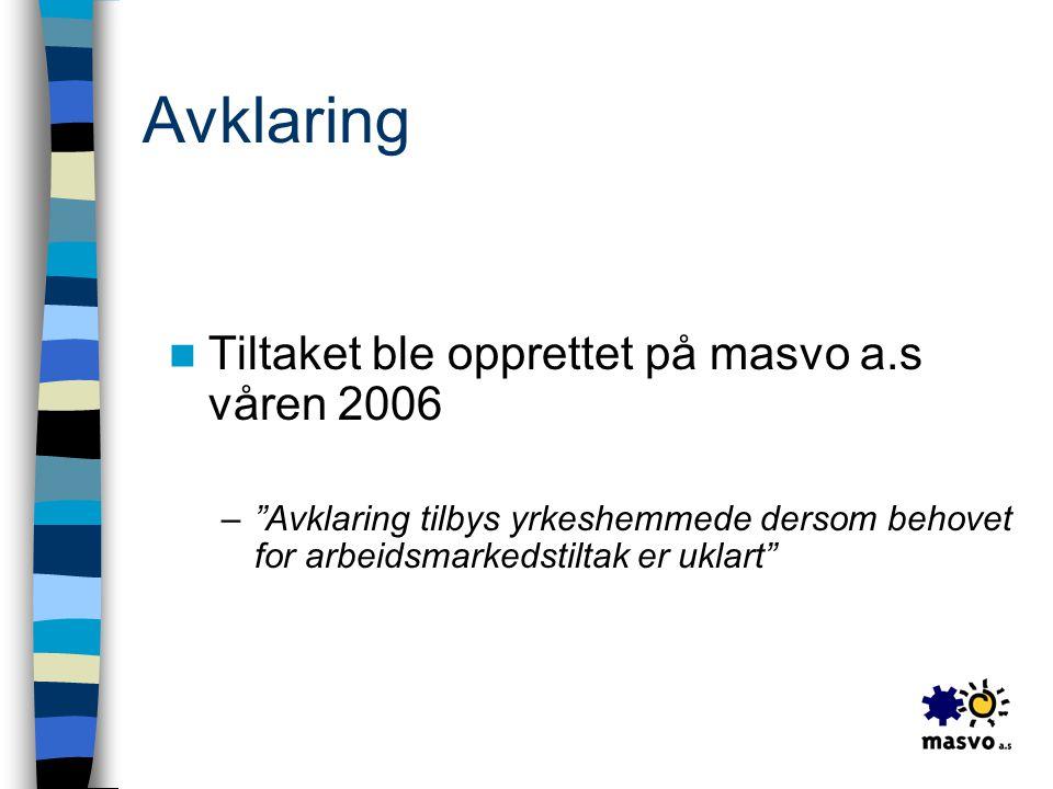 Avklaring Tiltaket ble opprettet på masvo a.s våren 2006
