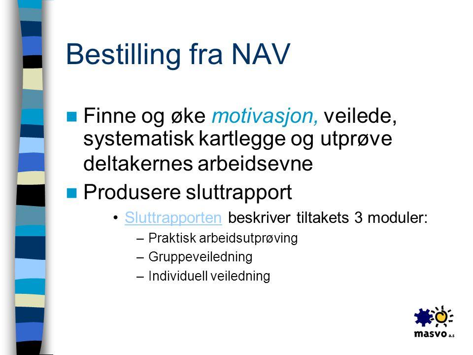 Bestilling fra NAV Finne og øke motivasjon, veilede, systematisk kartlegge og utprøve deltakernes arbeidsevne.