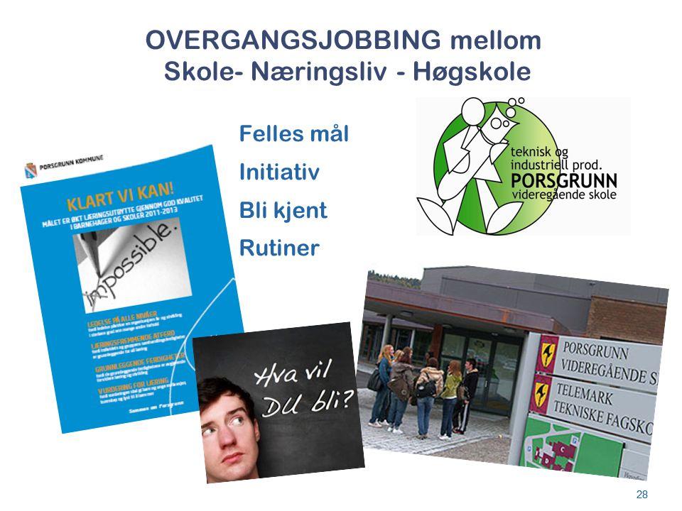 OVERGANGSJOBBING mellom Skole- Næringsliv - Høgskole