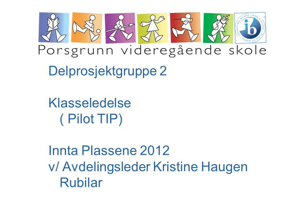 Delprosjektgruppe 2 Klasseledelse ( Pilot TIP) Innta Plassene 2012.