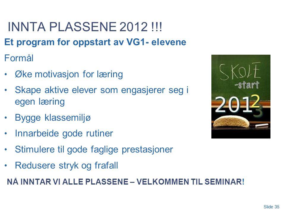 INNTA PLASSENE 2012 !!! Et program for oppstart av VG1- elevene Formål