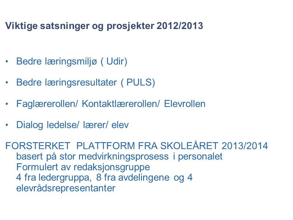 Viktige satsninger og prosjekter 2012/2013