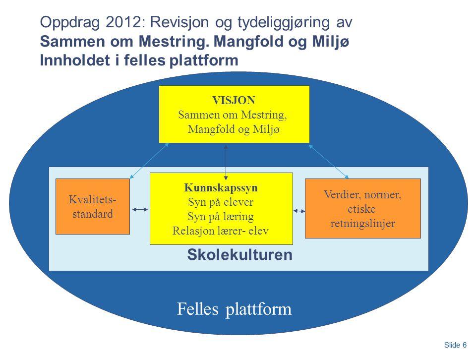 Oppdrag 2012: Revisjon og tydeliggjøring av Sammen om Mestring