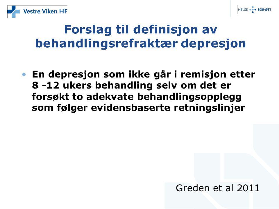 Forslag til definisjon av behandlingsrefraktær depresjon