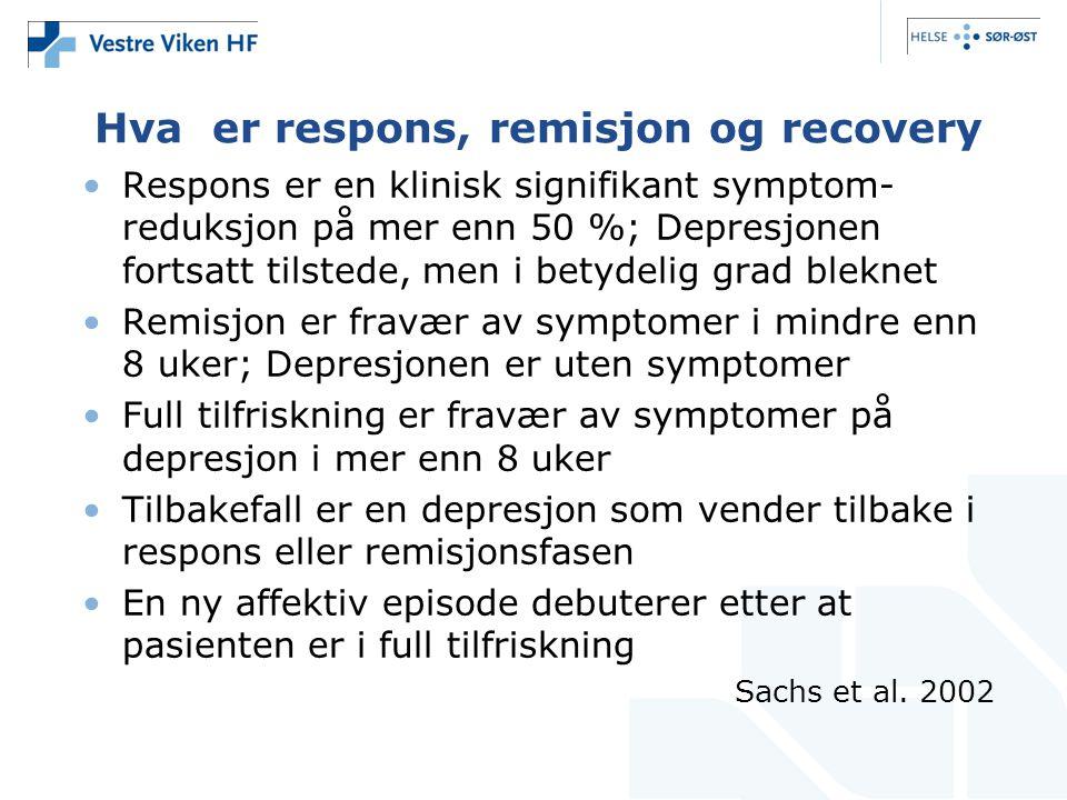 Hva er respons, remisjon og recovery