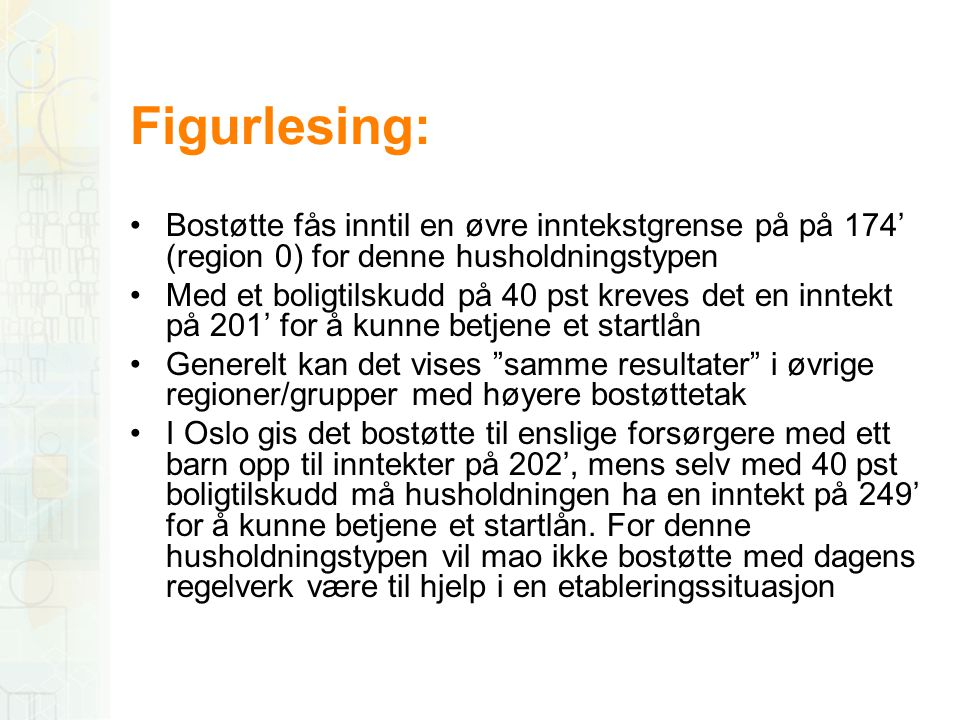 Figurlesing: Bostøtte fås inntil en øvre inntekstgrense på på 174' (region 0) for denne husholdningstypen.