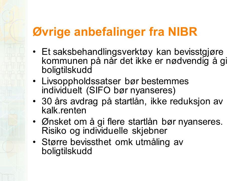 Øvrige anbefalinger fra NIBR