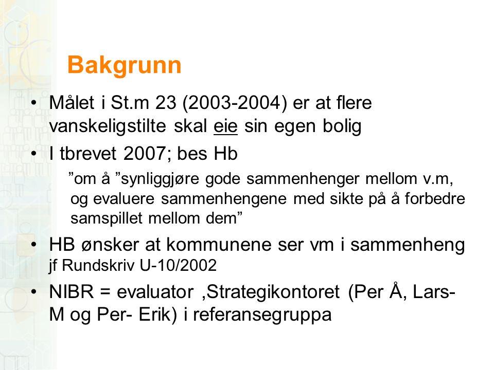Bakgrunn Målet i St.m 23 (2003-2004) er at flere vanskeligstilte skal eie sin egen bolig. I tbrevet 2007; bes Hb.