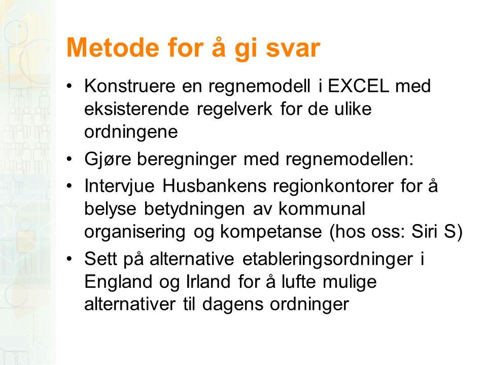 Metode for å gi svar Konstruere en regnemodell i EXCEL med eksisterende regelverk for de ulike ordningene.