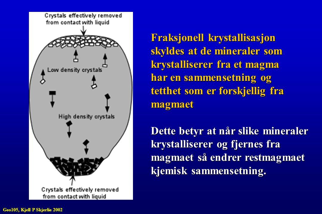 Fraksjonell krystallisasjon skyldes at de mineraler som