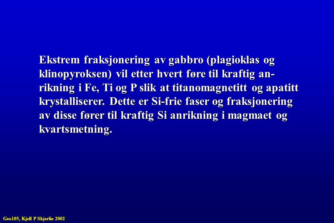 Ekstrem fraksjonering av gabbro (plagioklas og