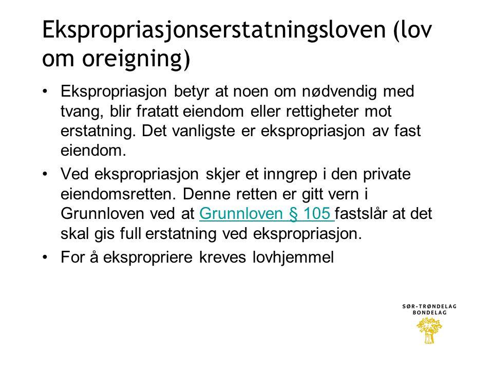 Ekspropriasjonserstatningsloven (lov om oreigning)