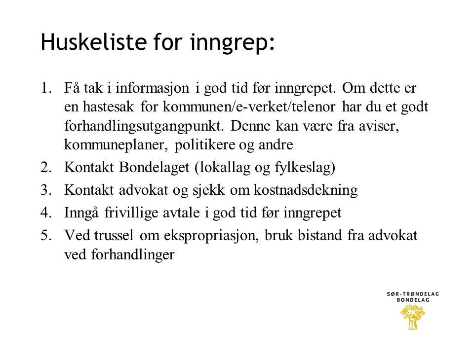 Huskeliste for inngrep: