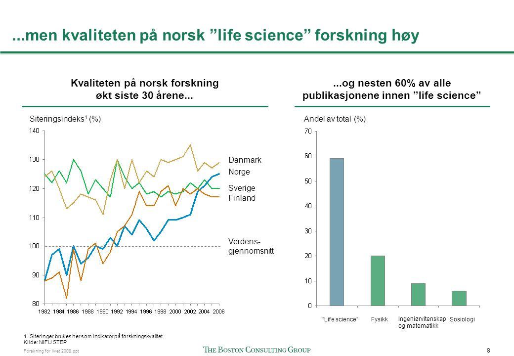 Norge har høy andel siteringer på flere hovedområder